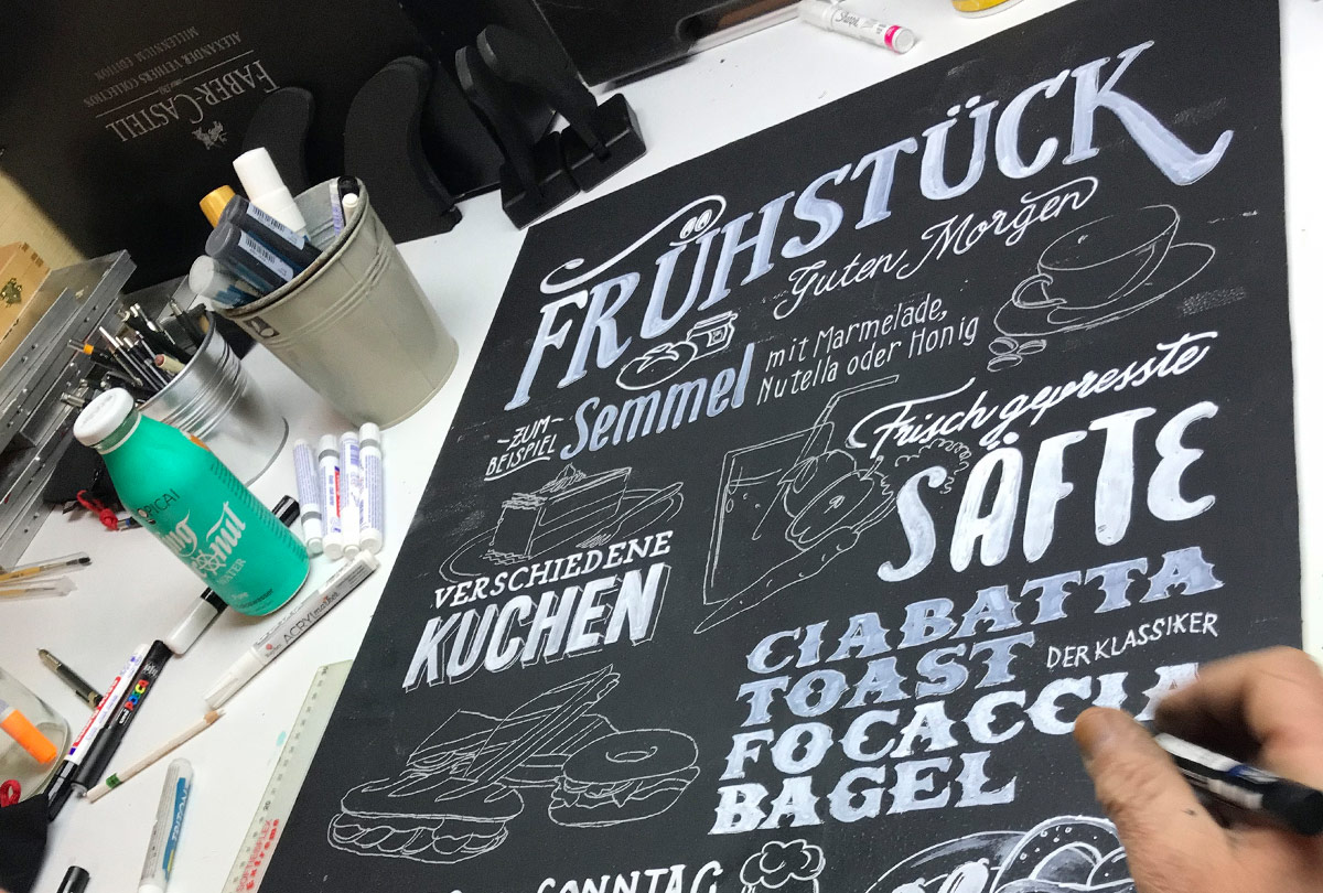 Black & White - Lettering und Illustrationen